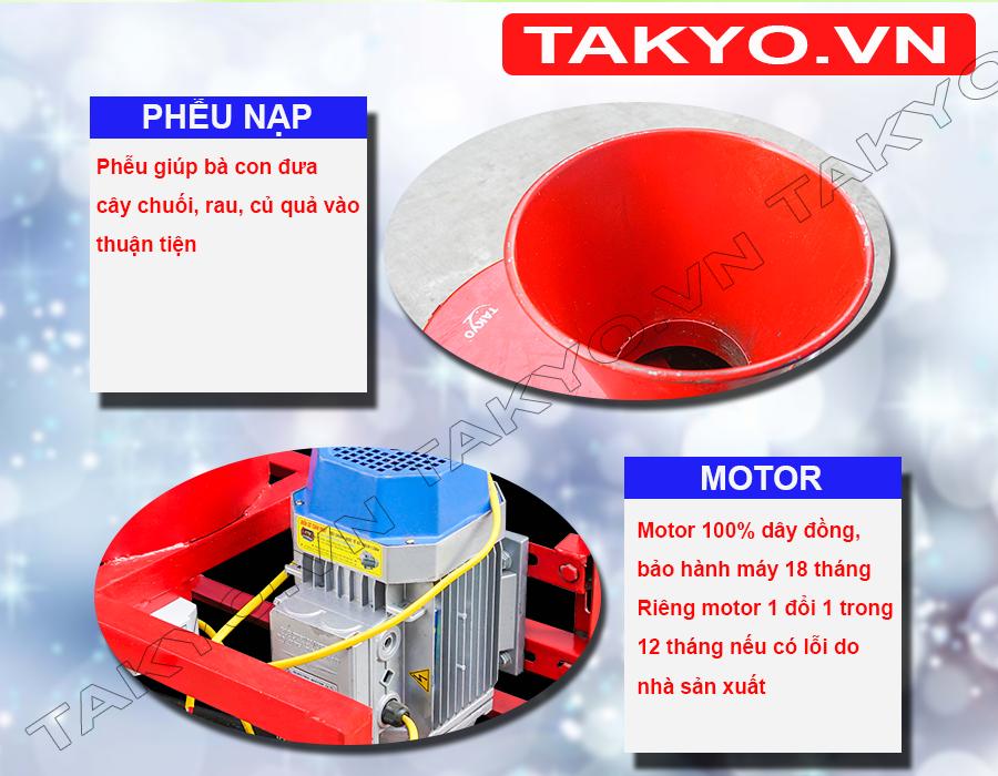 Motor và phễu nạp nguyên liệu máy băm chuối TAKYO TK 3000