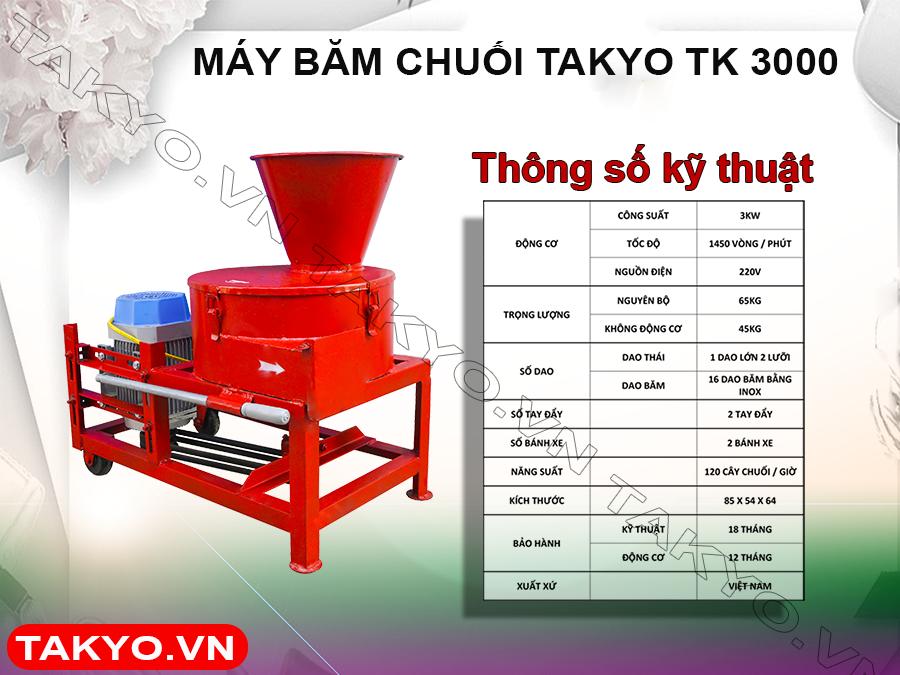 Thông số kỹ thuật máy băm chuối đa năng Takyo TK 3000