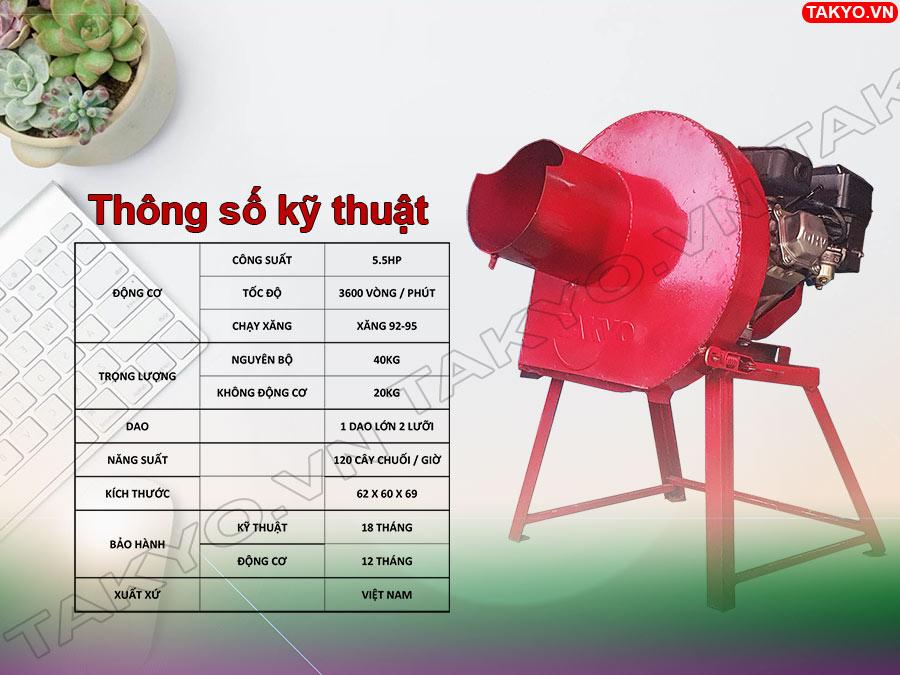 Thông số kỹ thuật máy băm chuối động cơ Takyo TK 55