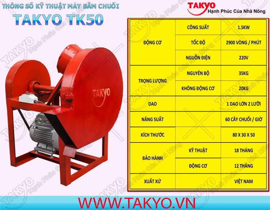 Thông số kỹ thuật máy băm thái chuối đa năng Takyo TK 50