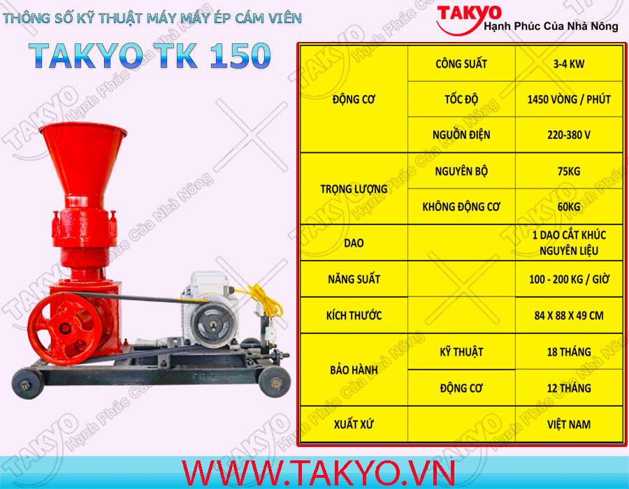 Thông số kỹ thuật máy ép cám viên hỗn hợp Takyo TK 150