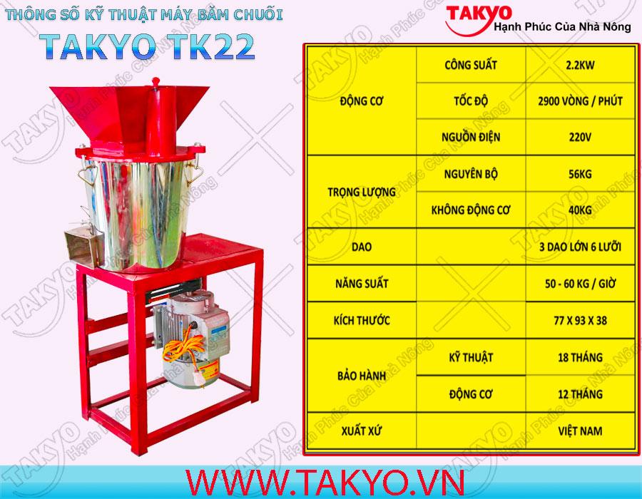 Thông số kỹ thuật máy băm nghiền đa năng inox Takyo TK 22