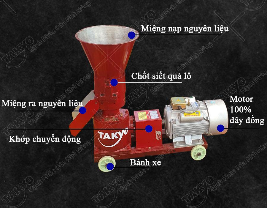 1-Cấu tạo máy ép cám viên hỗn hợp Takyo TK 180