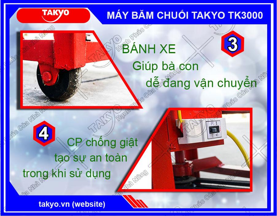 Takyo TK3000 được trang bị hệ thống bánh xe cùng cp chống giật đảm bảo an toàn cho người sử dụng