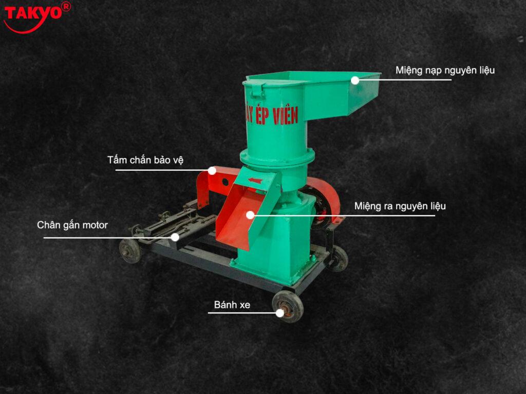 1-Cấu tạo máy ép cám viên hỗn hợp Takyo TK 250