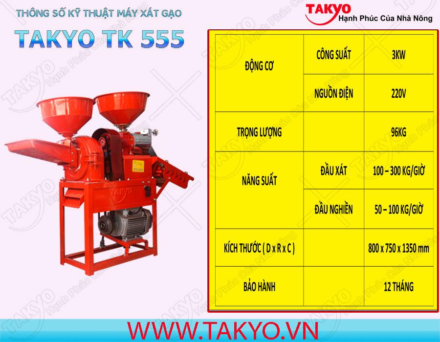 Thông số kỹ thuật máy xát gạo Takyo TK 555