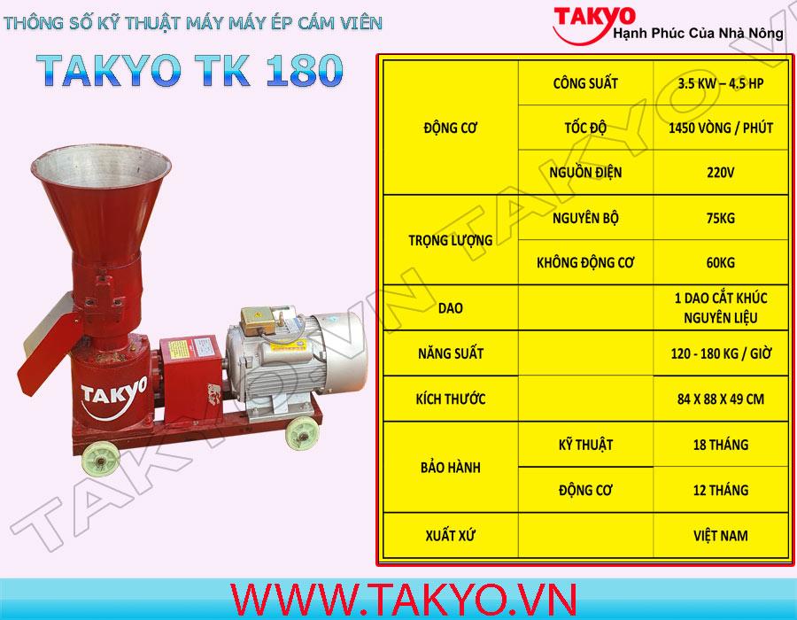 Thông số kỹ thuật máy ép cám viên hỗn hợp Takyo TK 180