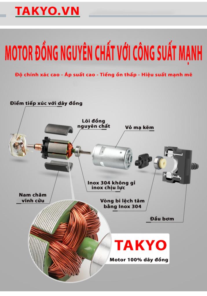 Motor bộ bơm TAKYO 100% dây đồng nguyên chất