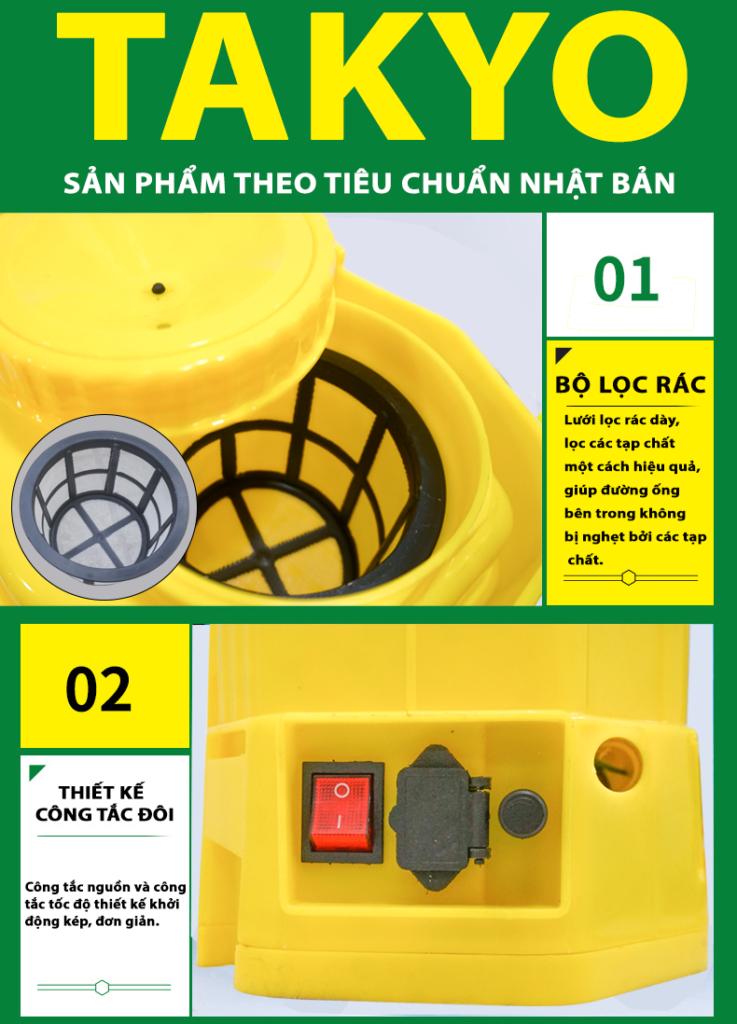 Bộ lọc rác và công tắc bình xịt điện TAKYO TK 16
