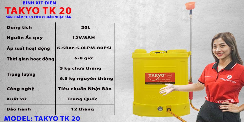 Thông số kỹ thuật bình phun thuốc bằng điện TAKYO TK 20