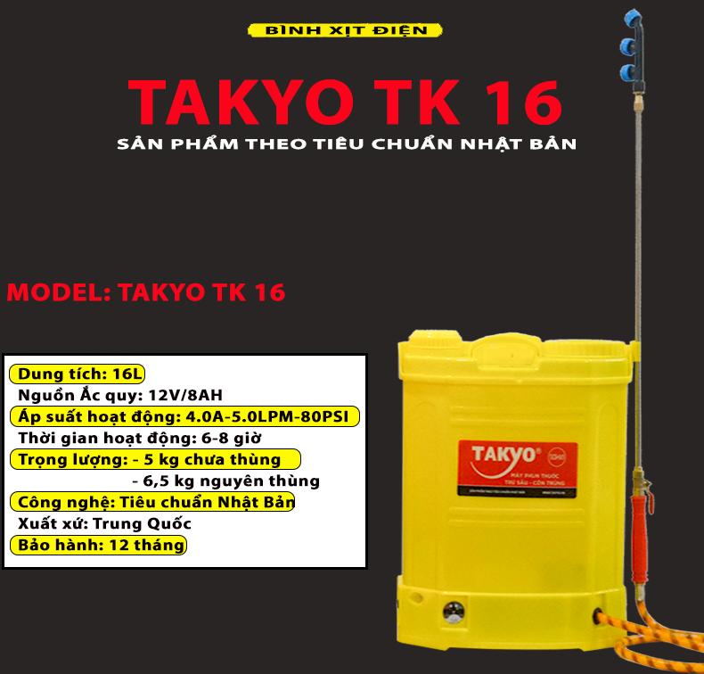 Thông số kỹ thuật bình phun thuốc bằng điện TAKYO TK 16