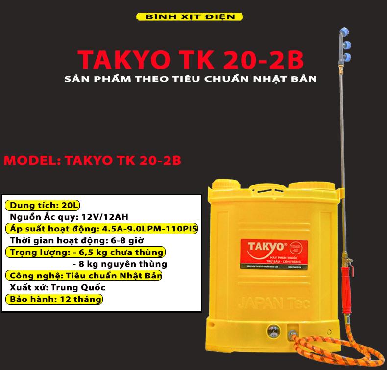 Thông số kỹ thuật bình phun thuốc bằng điện TAKYO TK 20-2B