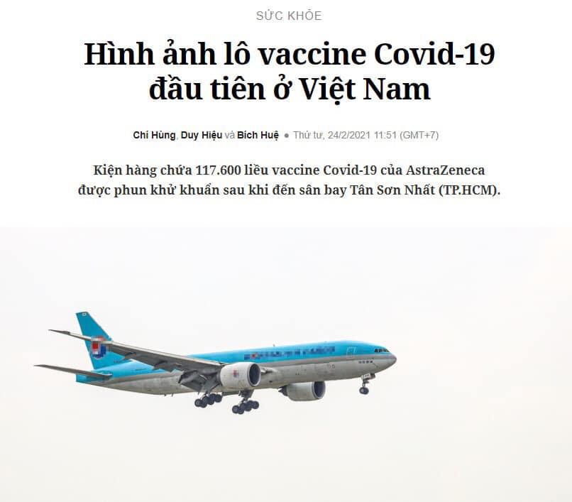 Hình ảnh lô vắc-xin Covid-19 đầu tiên về Tân Sơn Nhất – Trích báo Giao Thông
