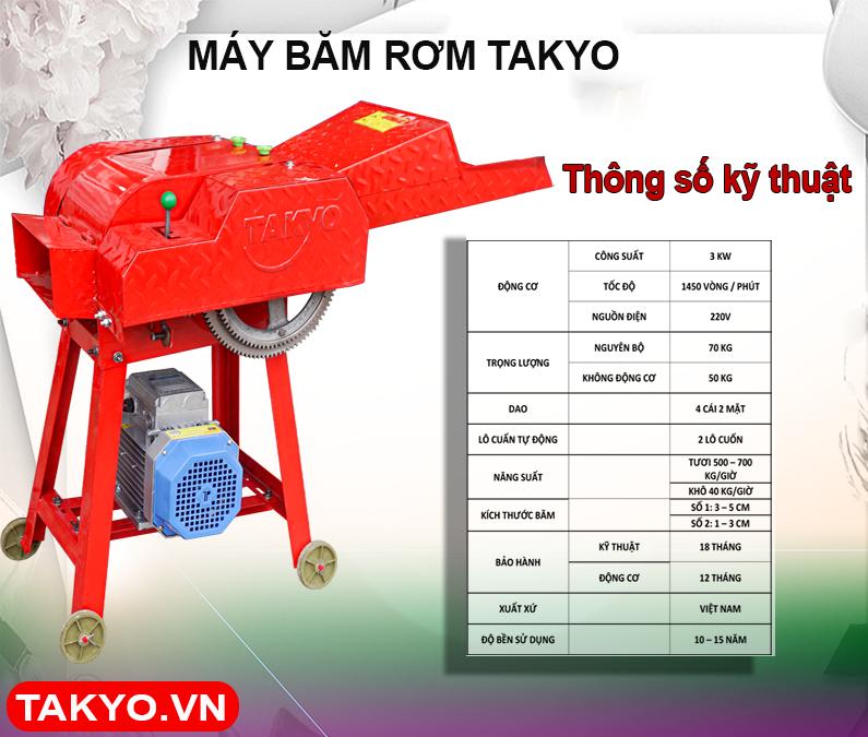 Thông số kỹ thuật máy băm rơm Takyo